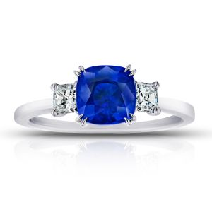 2.02 Carat Cushion Blue Sapphire and Diamond Ring
