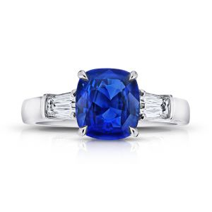 3.02 Carat Cushion Blue Sapphire and Diamond Ring