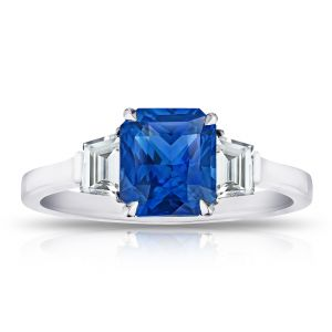 2.13 Carat Radiant Cut Blue Sapphire and Diamond Ring
