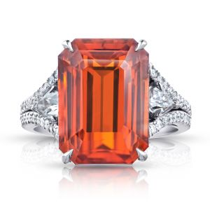16.10 Carat Emerald Cut Orange Sapphire and Diamond Ring