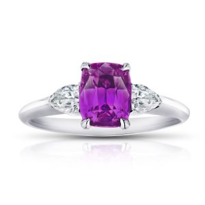2.05 Carat Cushion Pink Sapphire and Diamond Ring