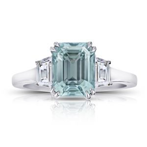 3.12 Carat Emerald Cut Bluish Green Sapphire and Diamond Ring