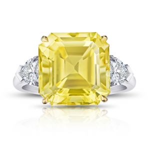 13.28 Carat Emerald Cut Yellow Sapphire and Diamond Ring