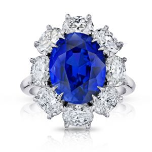 6.91 Carat Oval Blue Sapphire and Diamond Ring
