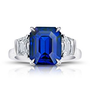 5.98 Carat Emerald Cut Sapphire and Diamond Ring