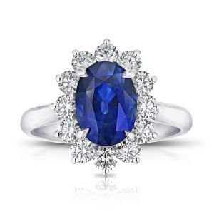 3.35 Carat Oval Blue Sapphire and Diamond Ring