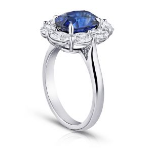4.05 Carat Oval Blue Sapphire and Diamond Ring