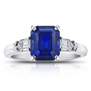 3.72 Carat Emerald Cut Blue Sapphire and Diamond Ring