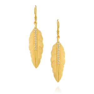 Handcrafted Feather Diamond Earring