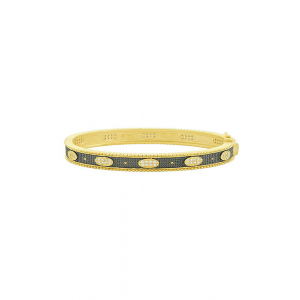 Signature Oval Eternity Hinge Bangle, Gold & Black