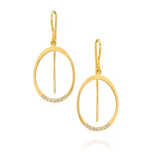 Oval Circle Pave Diamond Earring