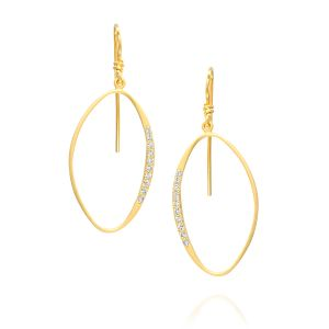 Oval Encircled Pave Diamond Earring