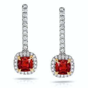Ruby and Diamond Halo Drop Earrings