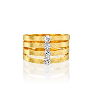 Handcrafted 4 Row Gold Diamond Ring