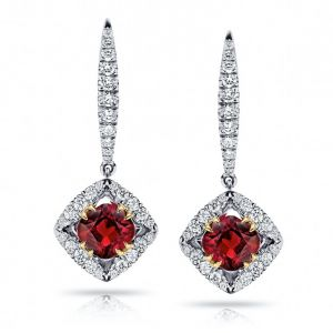 1.17 Carat Cushion Red Ruby And Diamond Earrings