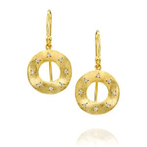 Open Round Brushed Gold Diamond Earring