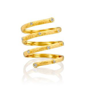 Gold Wrap Ring with Diamonds