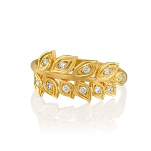 Wheat Leaf Ring with Diamonds