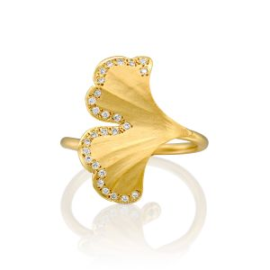 Ginkgo Leaf Ring with Diamonds