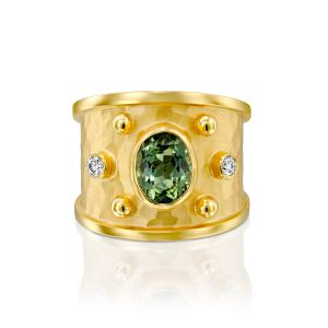 Green Tourmaline & Diamond Cigar Band Ring