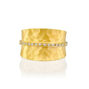 Textured Pave Strip Diamond  Ring