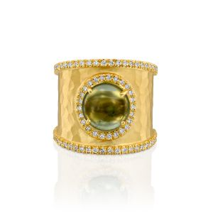 Round Cabochon Green Tourmaline Ring with Diamonds