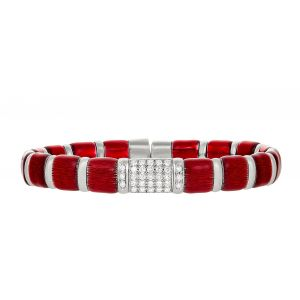 Candy Apple Red Enamel Flex Bangle Bracelet