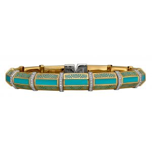 Yellow Vermeil & Tiffany Blue Enamel Flex Bangle Bracelet