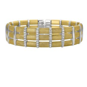 Yellow Vermeil Checkerboard Flex Bangle Bracelet