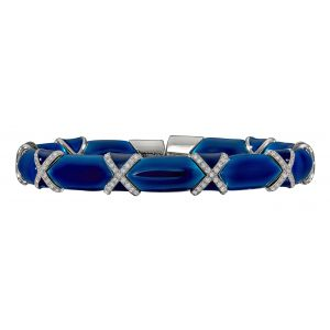 Denim Blue Enamel Flex Bangle Bracelet