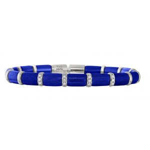 Royal Sapphire Blue Enamel Diamond  Flex Bangle Bracelet