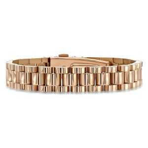 Gold Stainless Steel Three Row Watch Link Bracelet