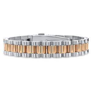 Stainless Steel Two Tone Three Row Watch Link Bracelet