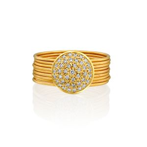 Round Pave White Diamond Stackable Ring