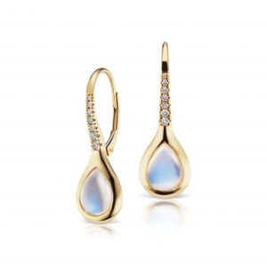 Drop Moonstone Pave Lever Earrings