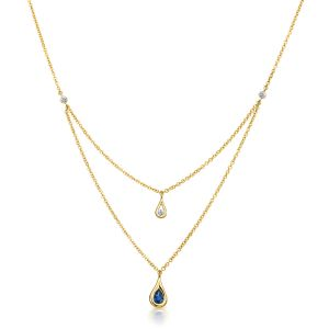Drop Yellow Gold Double Layer Necklace