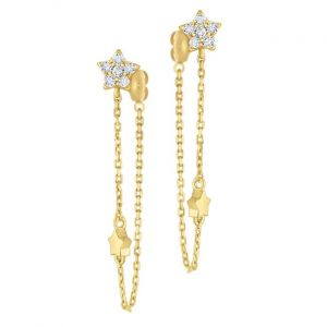 KC Designs 14k Gold and Diamond Star Chain Earrings