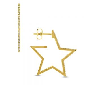 Large Gold and Diamond Star Hoops