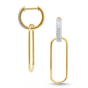 14k Gold and Diamond Paperclip Earrings
