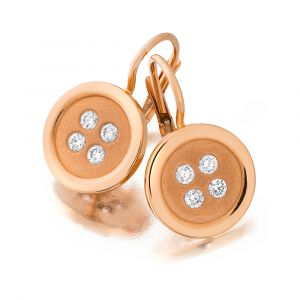 20k Pink Gold And Diamond Button Earrings