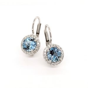 18k White Gold And Diamond Aquamarine Earrings