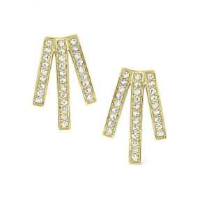 KC Designs 14k Gold and Diamond Triple Bar Earrings