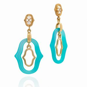 Blue Agate Secret Garden Earrings