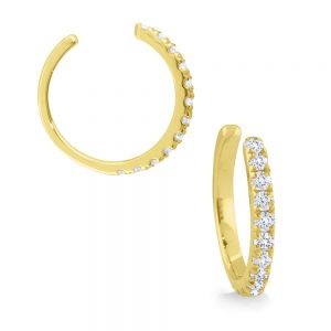 14k Gold and Diamond Earring Cuff, sold as a single