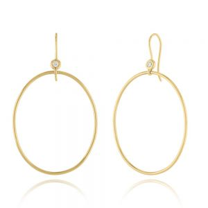 18K Elements Diamond Oval Hoop Earrings