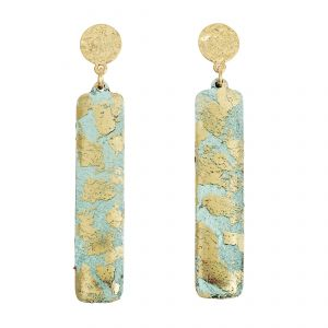 Turquoise Column Earrings w/Hammered Post