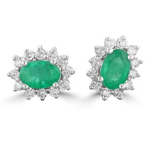 14K White Gold Oval Emerald Halo Earrings