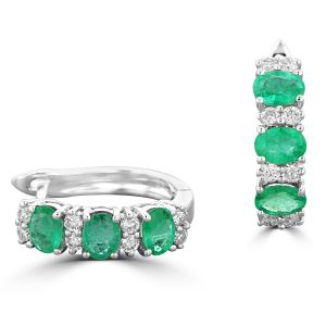 14K White Gold Oval Emerald And Round Diamond Earrings