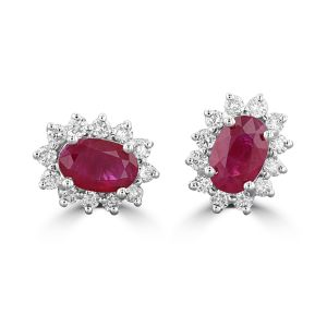 14K White Gold Oval Ruby Halo Earrings