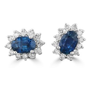 14K White Gold Oval Sapphire Halo Earrings
